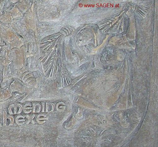 Abbildung der Meninghexe am Fritzner Sagenbrunnen
